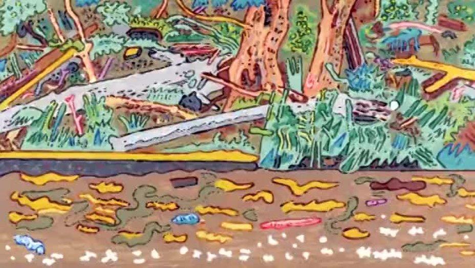 Landschaft mit Graureiher